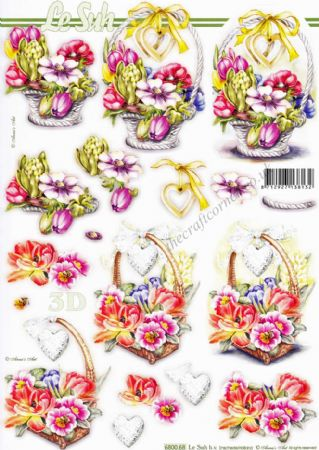 Basket Of Flowers Die Cut 3d Decoupage Sheet From Le Suh